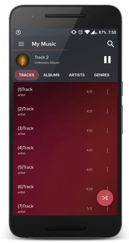 Pi Music Player Main Screen