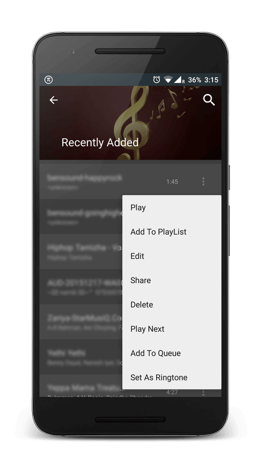 Pi Music Player Feature menu